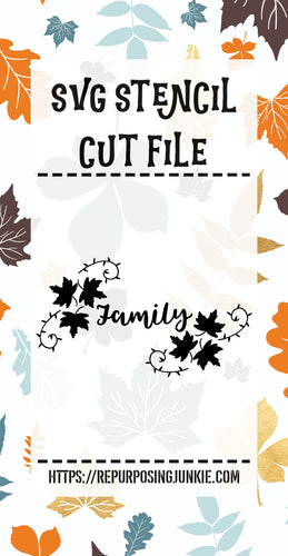 Family Leaf Laurels Stencil SVG JPEG Cut File Personal Use Only