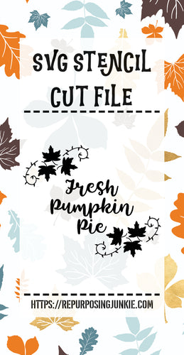 Fresh Pumpkin Pie Leaf Laurels Stencil SVG JPEG Cut File Personal Use Only