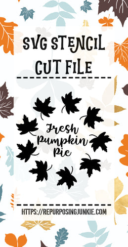 Fresh Pumpkin Pie Leaf Wreath Stencil SVG JPEG Cut File Personal Use Only