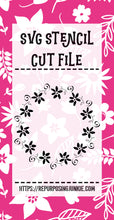 Funky Flower Swirl Wreath Stencil SVG JPEG Cut File Personal Use Only
