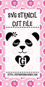 Girl Panda 2 Alphabet Stencil SVG JPEG Cut File Bundle Personal Use Only 26 Letters/Initials/Monograms