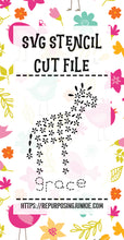 Giraffe Grace Flowers Leaves Stencil SVG JPEG Cut File Personal Use Only