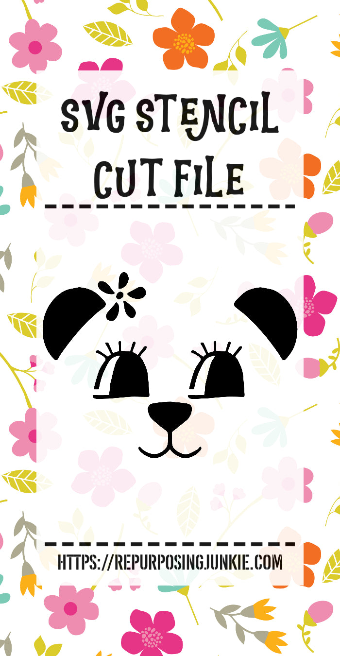 Girl Bear Face Stencil SVG JPEG Cut File Personal Use Only