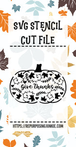 Give Thanks Embellished Pumpkin Stencil SVG JPEG Cut File Personal Use Only