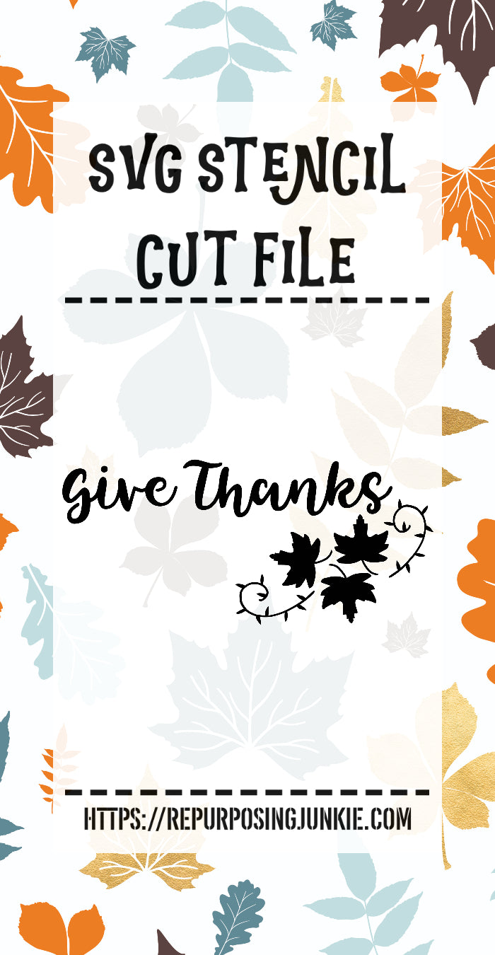Give Thanks Leaf Laurel Stencil SVG JPEG Cut File Personal Use Only