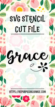 Grace Stencil SVG JPEG Cut File Personal Use Only