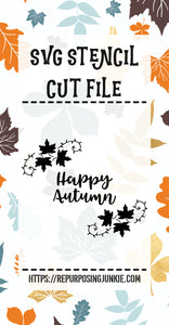 Happy Autumn Leaf Laurels Stencil SVG JPEG Cut File Personal Use Only