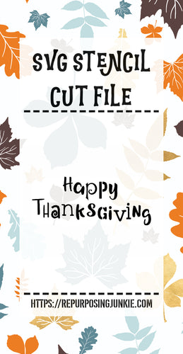Happy Thanksgiving Fun Letters Stencil SVG JPEG Cut File Personal Use Only