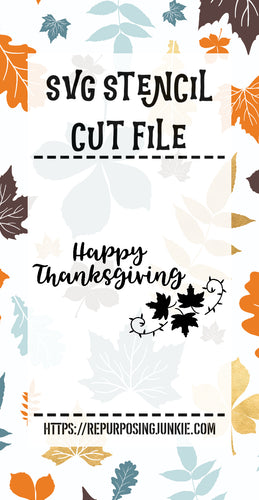 Happy Thanksgiving Leaf Laurel 1 Stencil SVG JPEG Cut File Personal Use Only