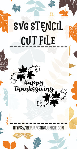 Happy Thanksgiving Leaf Laurels 2 Stencil SVG JPEG Cut File Personal Use Only