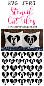 Heart Alphabet Stencil SVG JPEG Cut File Bundle Personal Use Only 26 Letters/Initials/Monograms