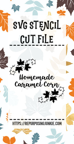Homemade Caramel Corn Leaf Laurels Stencil SVG JPEG Cut File Personal Use Only
