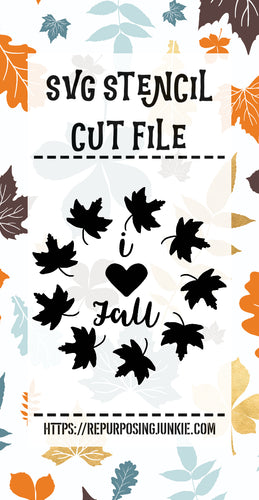 I Heart Fall Leaf Wreath Stencil SVG JPEG Cut File Personal Use Only