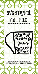 Java Embellished Cup Stencil SVG JPEG Cut File Personal Use Only