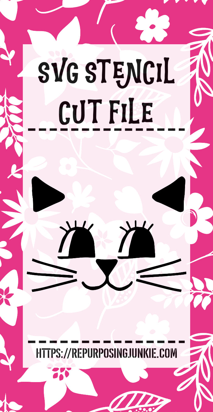 Kitty Kitten Face Stencil SVG JPEG Cut File Personal Use Only
