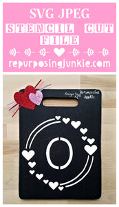 Valentine's Day SALE for $2!! No Discount code needed-expires February 14th-Modern Whimsical Heart Monogram Wreath- Heart Alphabet Stencil SVG JPEG Cut File Bundle Personal Use Only 26 Letters/Initials/Monograms