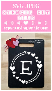 Modern Whimsical Heart Monogram Wreath- Heart Alphabet Stencil SVG JPEG Cut File Bundle Personal Use Only 26 Letters/Initials/Monograms