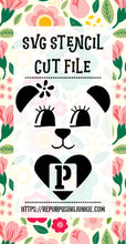 Girl Bear Heart Alphabet Stencil SVG JPEG Cut File Bundle Personal Use Only 26 Letters/Initials/Monograms