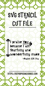Psalm 139 Stencil SVG JPEG Cut File Personal Use Only