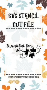 Thankful for You Leaf Laurel Stencil SVG JPEG Cut File Personal Use Only