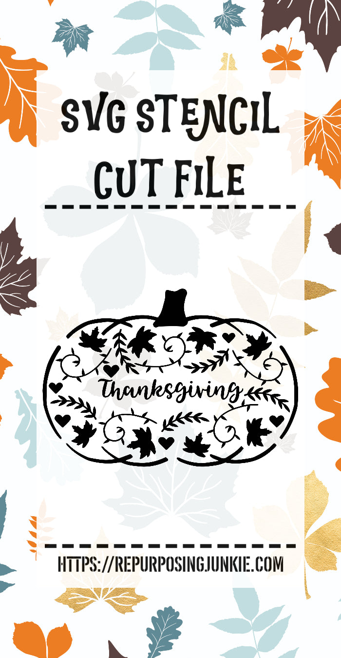 Thanksgiving Embellished Pumpkin Stencil SVG JPEG Cut File Personal Use Only