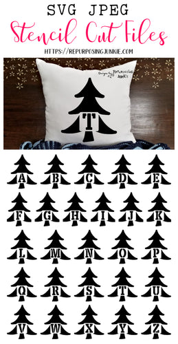 Tree Alphabet Stencil SVG JPEG Cut File Bundle Personal Use Only 26 Letters/Initials/Monograms