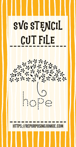 Umbrella Hope Flowers Leaves Stencil SVG JPEG Cut File Personal Use Only