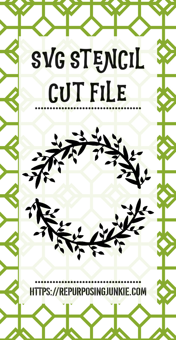 Vine Leaf Wreath Stencil SVG JPEG Cut File Personal Use Only