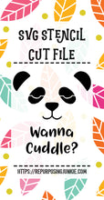 Boy Panda 2 Wanna Cuddle Stencil SVG JPEG Cut File Personal Use Only