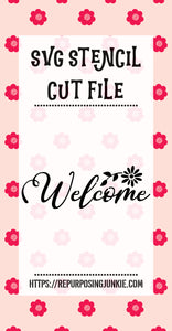 Welcome 1 Stencil SVG JPEG Cut File Personal Use Only