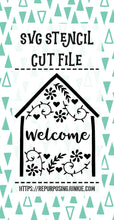 Welcome Embellished House Stencil SVG JPEG Cut File Personal Use Only