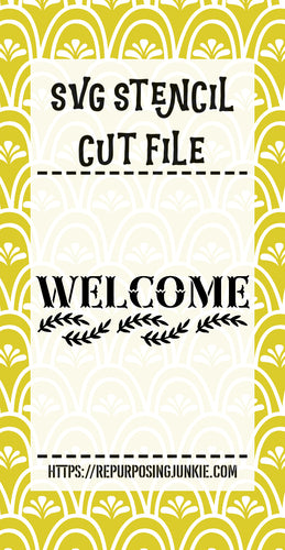 Welcome Vines Stencil SVG JPEG Cut File Personal Use Only