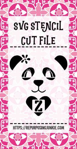Girl Panda 1 Alphabet Stencil SVG JPEG Cut File Bundle Personal Use Only 26 Letters/Initials, Monograms
