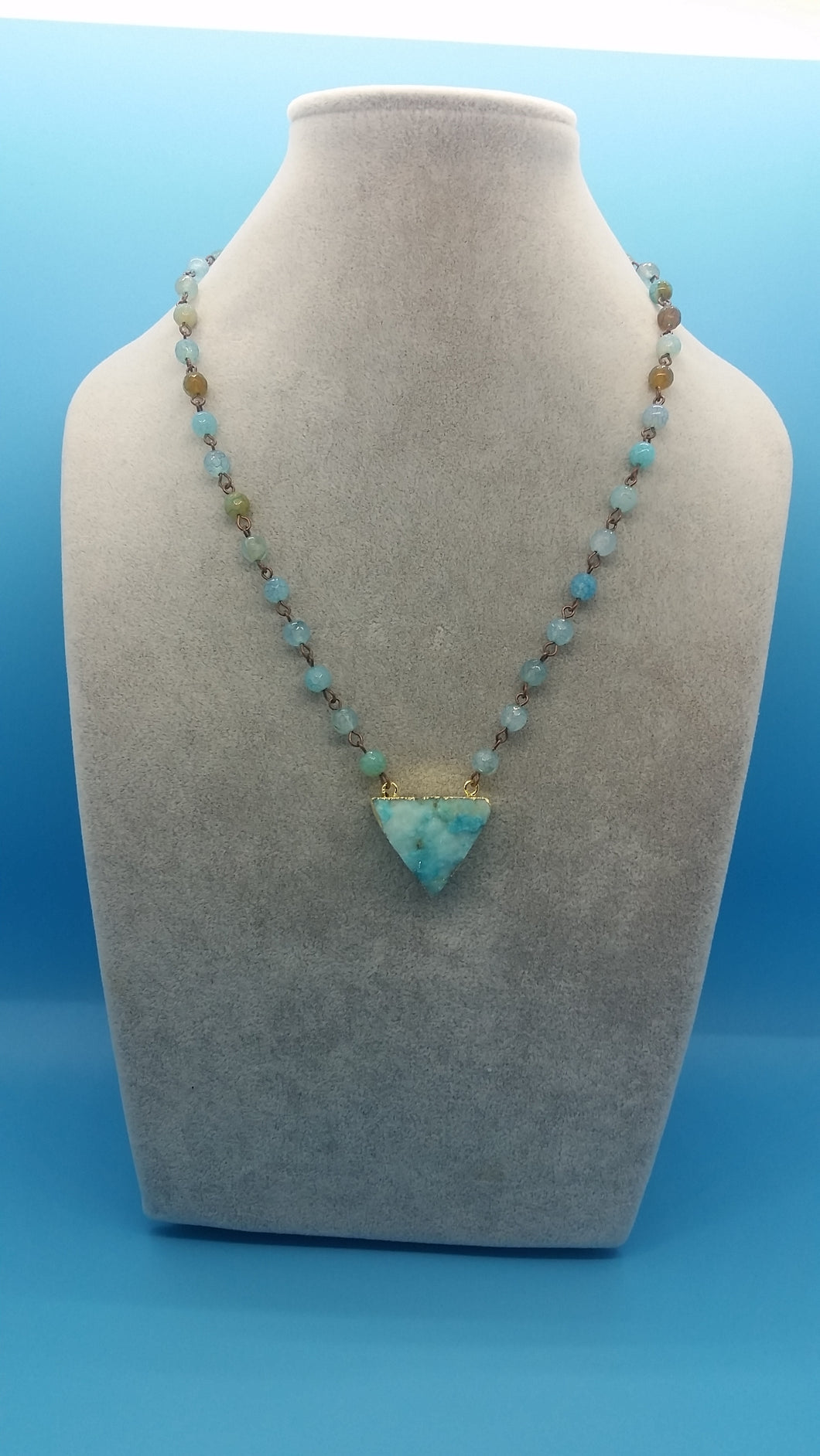 Blue Agate chain with Druzy pendant necklace