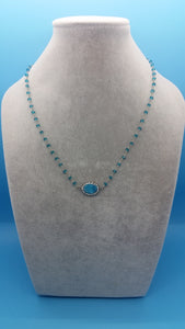 Apatite and Sterling Silver chain with Druzy Pave pendant necklace