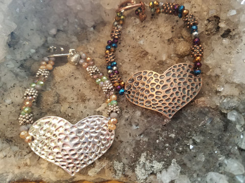 Hammered Heart Bracelet-your choice of color scheme! Class