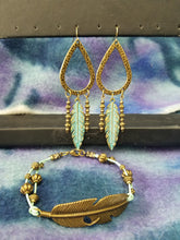 Load image into Gallery viewer, 09/16/2020 Boho Feather Earrings and Bracelet Set making!
