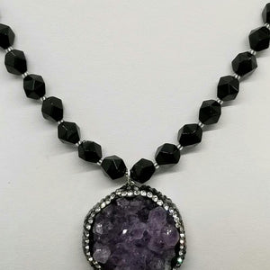 Amethyst and Onyx starcut necklace