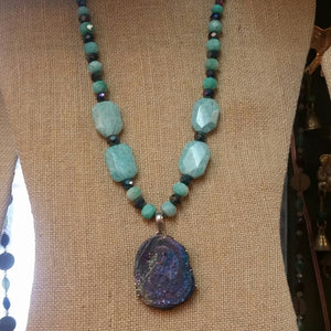 Amazonite with crystal and druzy necklace