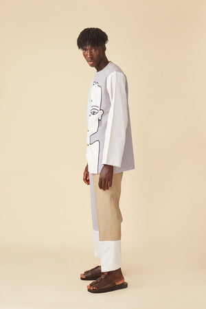 CONTRAST THREE-TONE PANTS