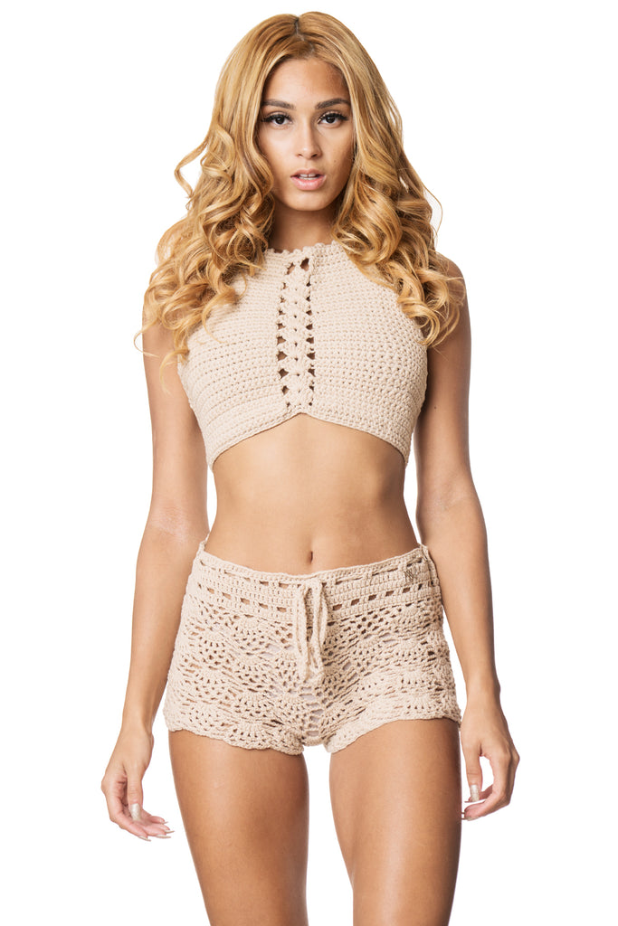 Handmade Beige Crochet Halter Crop Top And Mid Rise Cover Up Shorts