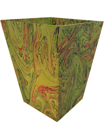 Waste Paper Basket in Bright Green Marble Paper