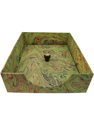 In-Box with Lid in Bright Green Marble
