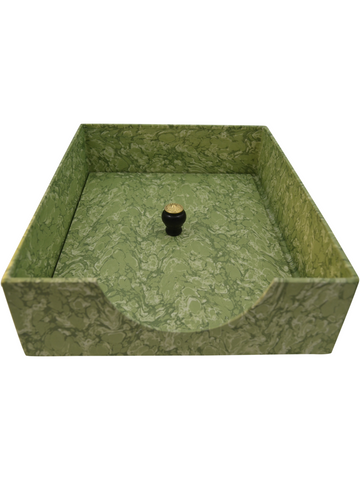 In-Box with Lid in Light Green Marble Paper