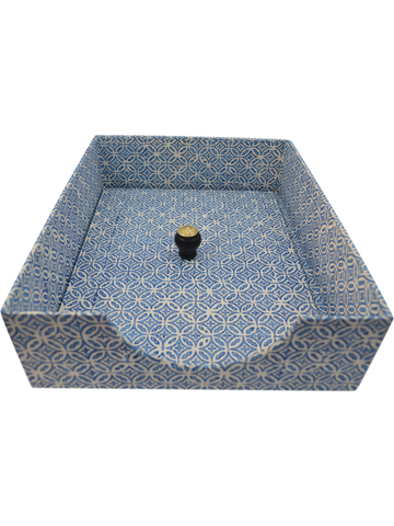 In-Box with Lid in Blue Tile Italian | SOLD OUT (available in other paper)
