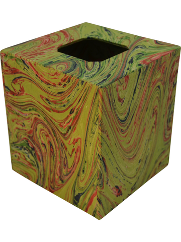 Tissue Box Cover in Bright Green Marble Paper
