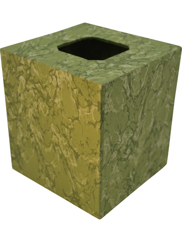 Tissue Box Cover in Light Green Marble Italian Paper