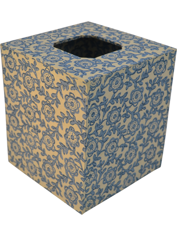 Tissue Box Cover in Fiori Blue Italian Paper