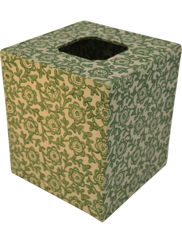 Tissue Box Cover in Fiori Green Italian Paper