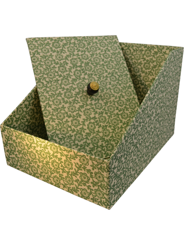 Tall In-Box with Lid in Fiori Green Italian Paper